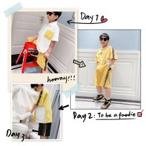 suit Other / other F black shorts (mid late March), f yellow shorts (mid late March), round neck T-shirt (mid late March), lapel T-shirt (mid late March) 90cm,100cm,120cm,130cm,140cm,150cm,160cm male summer leisure time Short sleeve + pants Thin money There are models in the real shooting Socket