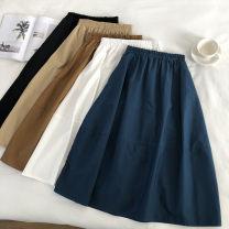 skirt Summer 2020 Average size Khaki, white, peacock blue, black, coffee longuette Versatile High waist A-line skirt Solid color Type A cotton