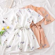 Dress Summer of 2019 Light blue, white, dark blue, light orange M, L Short skirt singleton  Short sleeve Sweet V-neck High waist Decor Others Type A 31% (inclusive) - 50% (inclusive)