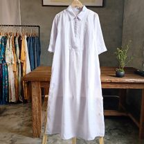 Dress Summer 2021 White, light purple S,M,L longuette singleton  Long sleeves commute Polo collar Loose waist Decor Socket A-line skirt routine 30-34 years old Type H Button, lace up More than 95% hemp