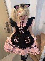 Lolita / soft girl / dress Sweet hit Blue rabbit, pink cat S,M,L,XL