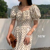 Dress Summer 2021 Apricot, black Average size Short skirt singleton  Short sleeve square neck High waist puff sleeve Type X