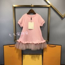 Dress Pink female 100cm,110cm,120cm,130cm,140cm,150cm Cotton 100% summer leisure time printing cotton Splicing style Class A 7 years old, 8 years old, 3 years old, 6 years old, 18 months old, 2 years old, 11 years old, 5 years old, 4 years old, 10 years old, 9 years old Chinese Mainland