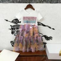 Dress Dress female Other / other 110cm,120cm,130cm,150cm,160cm,140cm Cotton 100% spring and autumn Korean version Short sleeve Broken flowers cotton A-line skirt Four, five, six, seven, eight, nine Chinese Mainland
