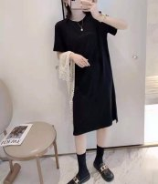 Dress Spring 2021 Black, grey, watch out for machine grey, watch out for machine black M, L longuette singleton  Short sleeve commute Crew neck Loose waist Solid color Socket A-line skirt routine 18-24 years old Type H Other / other Splicing cotton