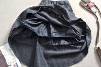 skirt Fall 2017 Average size longuette commute High waist Ruffle Skirt lattice Type A 18-24 years old 91% (inclusive) - 95% (inclusive) Wool Other / other cotton Lotus leaf edge 121g / m ^ 2 (including) - 140g / m ^ 2 (including)