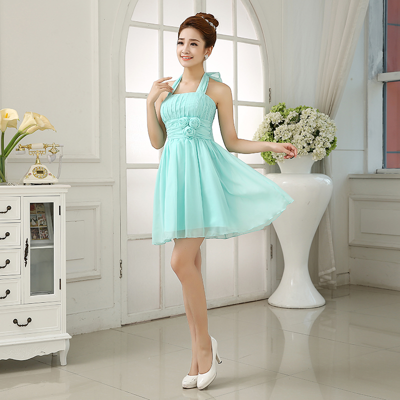 Dress / evening wear Weddings, adulthood parties, company annual meetings, daily appointments Average size Light green violet champagne Pink Korean version Short skirt Elastic waist Spring 2016 Fluffy skirt Hanging neck style zipper Chiffon 18-25 years old One hundred and ninety-eight flower