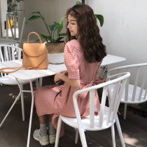 Dress Summer of 2018 Red lattice Green lattice Average size Mid length dress singleton  Short sleeve commute square neck High waist lattice Socket other other Others 18-24 years old Type A Korean version Bow tie