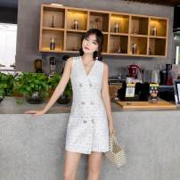 Dress Summer of 2018 white S M L Middle-skirt singleton  Sleeveless commute double-breasted 18-24 years old