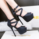 Low top shoes 34 35 36 37 38 39 Other / other Gold silver dark blue black Fish mouth Fine heel PU Shallow mouth Super high heel (over 8cm) PU Autumn 2016 Flat buckle Europe and America Adhesive shoes Solid color rubber Hollow cross strapping waterproof platform PU office 266-8