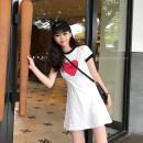 Dress Summer of 2018 White black Average size Short skirt singleton  Short sleeve commute Crew neck High waist Cartoon animation Socket A-line skirt