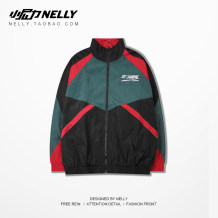 Windbreaker Youth fashion HEYBIG M L XL 2XL White black routine easy zipper Other leisure autumn teenagers stand collar Hip hop CJH284047AQXW other washing Side seam pocket other printing
