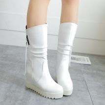 Boots 34 35 36 37 38 39 White red black light brown PU Other / other Low heel (1-3cm) Internal elevation PU Middle cylinder Round head cloth cloth