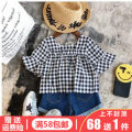 suit Other / other As shown in the picture 7 (recommended height 90cm) 9 (recommended height 100cm) 11 (recommended height 110cm) 13 (recommended height 120cm) 15 (recommended height 125cm) female summer Korean version Short sleeve + pants 2 pieces Thin money No model Socket nothing lattice children