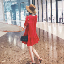 Dress Summer of 2018 White Red S M L XL Short skirt Commuting Single Short sleeve Round neck Pure color High waist Sleeve Ruffled skirt Lantern sleeve Other /other Korean version Type A 18-24 years old Chiffon 31% (inclusive) -50% (inclusive) hemp