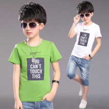 T-shirt Green white Other / other 120cm 130cm 140cm 150cm 160cm 170cm male summer Short sleeve Crew neck leisure time There are models in the real shooting nothing cotton lattice Cotton 96% PVC 4% Class A Sweat absorption