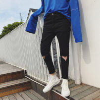 Jeans Youth fashion Absorption 28 29 30 31 32 33 34 36 black routine Micro bomb XWN02 Ninth pants Travel? Cotton 100% autumn teenagers Medium low back