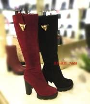 Boots 37 38 39 Первый слой кожи Красный Черный Первый слой кожи Искусственный короткий плюш Парусная волна высокий Круглый Высокий каблук (5-8 см)