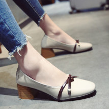 Low top shoes 35 36 37 38 39 Beibeile BEIGE BLACK Square head Thick heel PU Shallow mouth Middle heel (3-5cm) PU Spring of 2018 Trochanter Solid color
