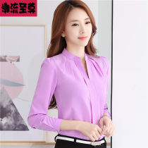 Lace / Chiffon Autumn 2016 White purple pink S M L XL 2XL Long sleeves commute Socket singleton  Self cultivation V-neck Solid color shirt sleeve