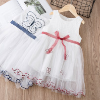 Dress Red blue Little Huanglong female 90cm 100cm 110cm 120cm 130cm Other 100% summer Korean version Short sleeve Solid color cotton Pleats HT0370 Class B