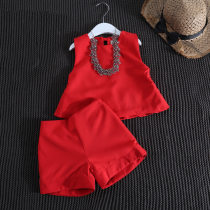 suit Other / other Red suit black female summer Europe and America Long sleeve + pants 2 pieces Thin money No model Socket nothing Solid color children