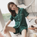 Pajamas / housewear set female Other / other M L XL XXL Polyester (polyester) Short sleeve Sweet pajamas summer routine Shirt collar Solid color shorts double-breasted youth 2 pieces rubber string More than 95% silk Embroidery five thousand three hundred and thirty-six 200g and below