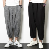 Casual pants Others Youth fashion Socks grey black M L XL 2XL 3XL 4XL 5XL Ninth pants Travel? easy No bullet summer teenagers Japanese Retro 2018 middle-waisted Haren pants No iron treatment Solid color