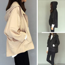 short coat Spring 2016 Average code Beige black Seven sleeves Short paragraph Thin section Single Cape type Bat sleeve street Hooded zipper Pure color 18-24 years old 03803025 Pocket zipper 96% and above Polyester