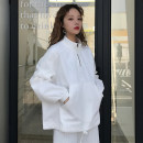 short coat Spring 2018 Average code White yellow Long sleeve conventional conventional Single Loose Raglan sleeves Commuting Standing collar zipper Pure color 18-24 years old Pocket zipper 96% and above cotton
