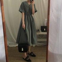 Dress Summer of 2018 Green black Average size longuette singleton  Short sleeve commute V-neck Solid color routine Retro