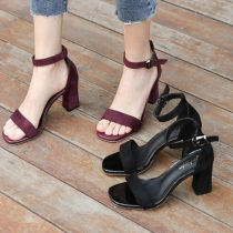 Sandals 34 35 36 37 38 39 40 Wine red [heel height 5cm] black [heel height 5cm] wine red [heel height 7cm] black [heel height 7cm] Shuyun Princess Suede Barefoot Thick heel High heel (5-8cm) Spring of 2018 Flat buckle Sweet Solid color Adhesive shoes Youth (18-40 years old) rubber daily Bag heel