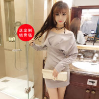 Dress Autumn of 2018 Apricot grey black S M Short skirt singleton  Long sleeves commute V-neck High waist Solid color Socket One pace skirt Bat sleeve Other / other Korean version 91% (inclusive) - 95% (inclusive) brocade cotton