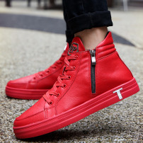 High shoes Artificial short plush PU 39 40 41 42 43 44 cotton Tie Other / other Round head Black Silver Red Casual Flat with rubber Hi-top shoes Pure color Adhesive shoes Youth (18-40 years old) Plain Keep warm