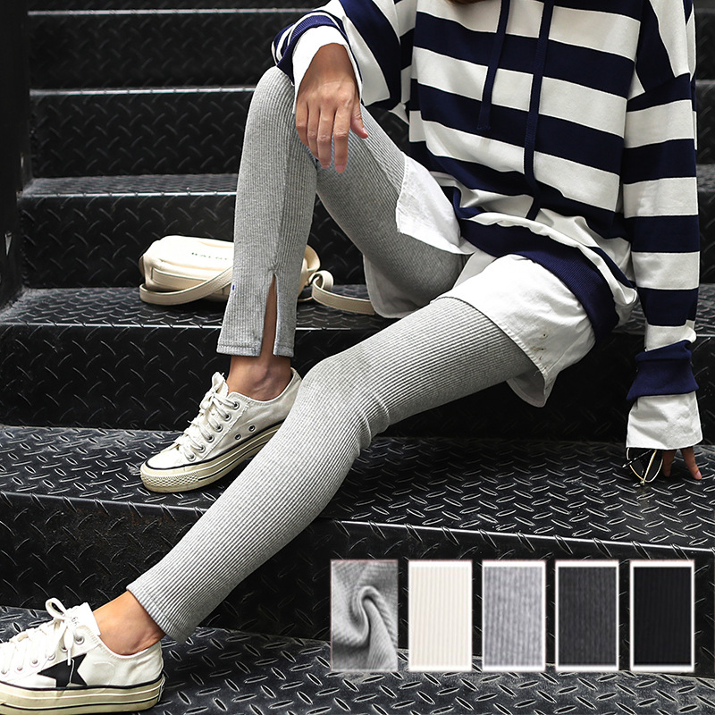 Warm pants Dark grey light grey black M L XL Other / other female keep warm Ninth pants Solid color middle-waisted Medium thickness cotton monolayer youth motion No plush Knitted fabric No patch jacquard weave