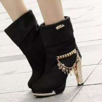 Boots 35 36 37 38 39 40 41 Black wear bottom dark blue wear bottom dark blue black Superfine fiber Other / other High heel (5-8cm) Thick heel Suede Middle cylinder Round head Artificial short plush Artificial short plush Winter 2017 Sleeve sexy rubber Solid color Tassel boots Adhesive shoes Frosting
