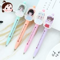 Roller ball pen Qing rang 0.38mm 1 black seventy-eight thousand four hundred and twenty-two Blue Short Hair Girl Purple ball girl orange sister Girl Pink Bow girl Student white collar Daily written signature Quick drying no 1 Bullet type Plastic yes Press Oily ink 300-500m Direct liquid