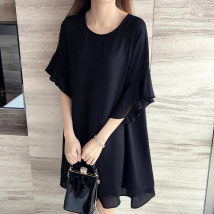 Lace / Chiffon Summer of 2018 XL 2XL 3XL 4XL 5XL Red Black Short sleeve Commuting Sleeve Long section Single Loose Round neck Pure color Horn sleeve