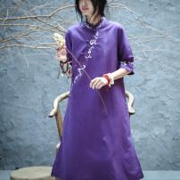 Dress Summer 2020 White, purple, light blue, pink S,M,L,XL longuette Short sleeve Three summers q2269