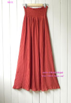 skirt Spring 2017 Average size Brownish red, beige, pink longuette gorgeous High waist Pleated skirt Solid color Type A 81% (inclusive) - 90% (inclusive) Chiffon