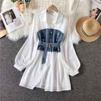 Dress Spring 2021 white S,M,L,XL Mid length dress singleton  Long sleeves commute Polo collar High waist Solid color Single breasted A-line skirt routine Others 18-24 years old Type A Korean version Button 31% (inclusive) - 50% (inclusive) polyester fiber