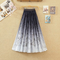 skirt Spring 2021 Average size Dark blue gradient , Lake blue gradient , Black gradient , Purple gradient longuette commute High waist Pleated skirt Solid color Type A 25-29 years old 31% (inclusive) - 50% (inclusive) other polyester fiber Mesh, stitching Korean version