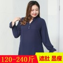 Women's large Autumn of 2018 Dark blue, black, blue print Large XL, 2XL, 3XL, 4XL, 5XL, 6xl shirt singleton  commute easy moderate Socket Long sleeves Solid color, plant and flower Korean version V-neck routine polyester Petal sleeve 1335-2 35-39 years old Three dimensional decoration