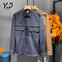shirt Youth fashion Tagkita / she and others M,L,XL,2XL,3XL,4XL Blue, brown routine Pointed collar (regular) Long sleeves easy Other leisure spring YD-1242 youth Cotton 100% American leisure 2021 stripe Color woven fabric No iron treatment cotton Splicing Easy to wear More than 95%