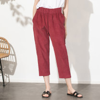 Casual pants rose red M, L Spring 2020 Ninth pants Straight pants Natural waist commute routine 30-34 years old 96% and above ZHI81528 Miccbeirn Simplicity cotton