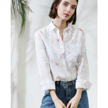 shirt Decor S,M,L Autumn of 2019 hemp 96% and above Long sleeves commute Regular Polo collar Single row multi button shirt sleeve Broken flowers 30-34 years old Straight cylinder Miccbeirn Simplicity ZHI81321C printing