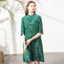 Dress Spring 2020 Decor M, L Mid length dress singleton  elbow sleeve commute stand collar middle-waisted Decor Three buttons routine 30-34 years old Miccbeirn Simplicity printing ZHJ81866A More than 95% Crepe de Chine silk