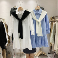 Dress Spring 2021 Average size Mid length dress Two piece set three quarter sleeve commute other Loose waist Solid color Single breasted Pleated skirt shirt sleeve Others 18-24 years old Type A Splicing 51% (inclusive) - 70% (inclusive) other other