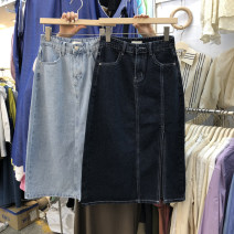 skirt Spring 2021 S,M,L Dark blue, light blue Mid length dress commute High waist Denim skirt Solid color Type A 18-24 years old 51% (inclusive) - 70% (inclusive) other other Korean version