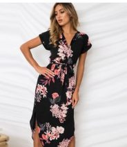 Dress Summer of 2019 White square, pink square, geometry, stripe, black flower, white flower, blue flower S,M,L,XL,2XL Other / other